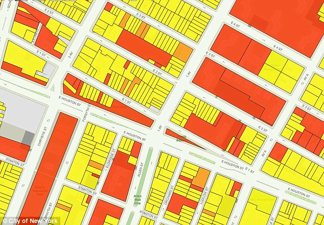In the red: This area around East Houston Street has some rodent issues