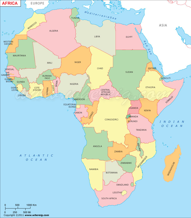 africa map w countries