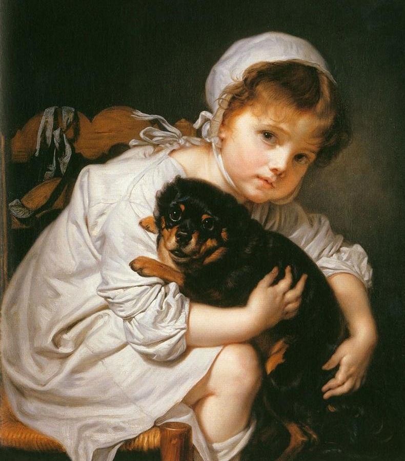 Briton Rivière 1840-1920 5 stars England [phistars.com] Romanticism girl with doggie