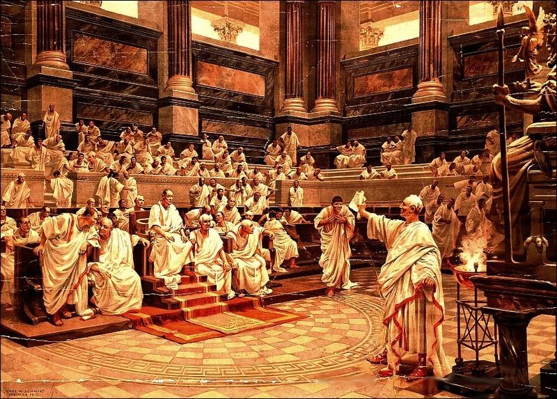 Cicero indicts Catiline before the Senate--H. Schmidt